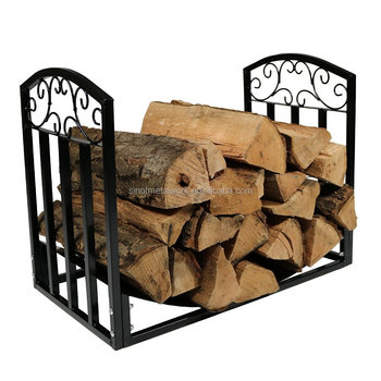 Fireplace Sets Accessories Wrought Iron Firewood Rack Steel Metal Log Holder