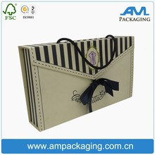 wholesale custom with handle on top paper flat folding apparel box baby clothes packaging