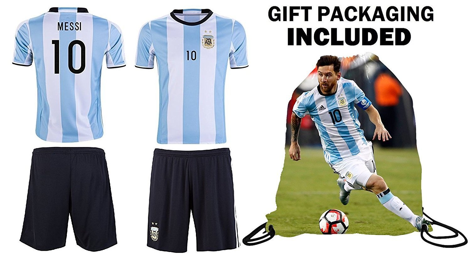 Get Quotations · Fan Kitbag Lionel Messi  10 Argentina Youth Kids Soccer  Jersey ✓ Shorts ✓ Picture Bag e01b4fbcb