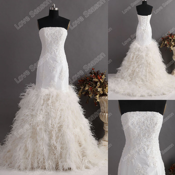 LS0121ostrich Feather Dress Exquisite High Quality Wedding Tight Bodice Corset Back Trumpet Mermaid