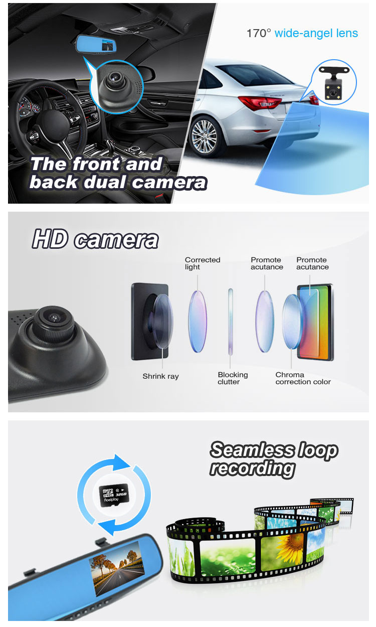 Factory supplier 720P support G sensor function wide angle 150 degree dvr for car with front and rear view camera dashcams