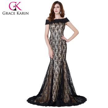 Grace Karin Off Shoulder Long Black Lace Formal Evening Dress Cl4471