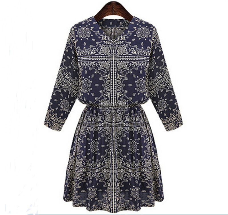 New 2015 Autumn Women Dress Summer Ethnic Printing Long Sleeve Casual Dresses Retro Chiffon Vestidos Plus Size XXXL 4XL 5XL