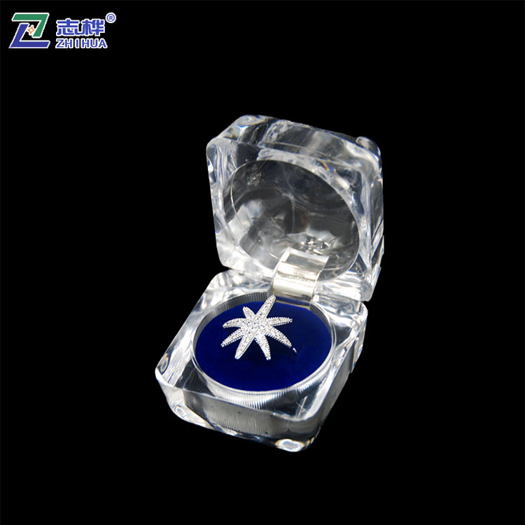 ZHIHUA Cheap Imitated Crystal Glass Keeping Holder Transparent Acrylic Jewelry ring Box