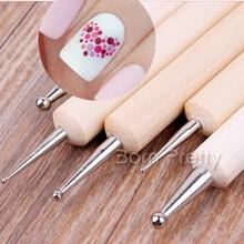 5 Pcs 2 maneira de madeira Dotting Pen Marbleizing ferramenta Nail Art Dot Dotting ferramentas # 14198