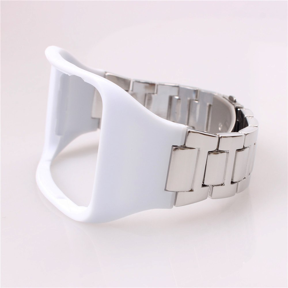 Yavive Replacement Stainless Steel Metal Band Wristband Bracelet Strap for Samsung Galaxy Gear S SM-R750 Smart Watch (Silver Metal Strap with White Silicon)