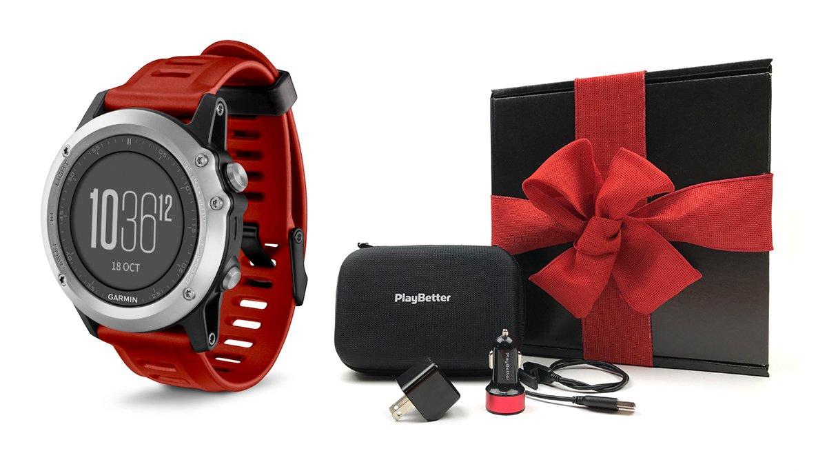 Garmin fenix 3 (Red) GIFT BOX Bundle | Includes Multi-Sport GPS Fitness Watch, PlayBetter USB Car & Wall Adapter, USB Charging Cable & GPS Carrying Case | Black Gift Box with Red Bow & Crinkle Paper