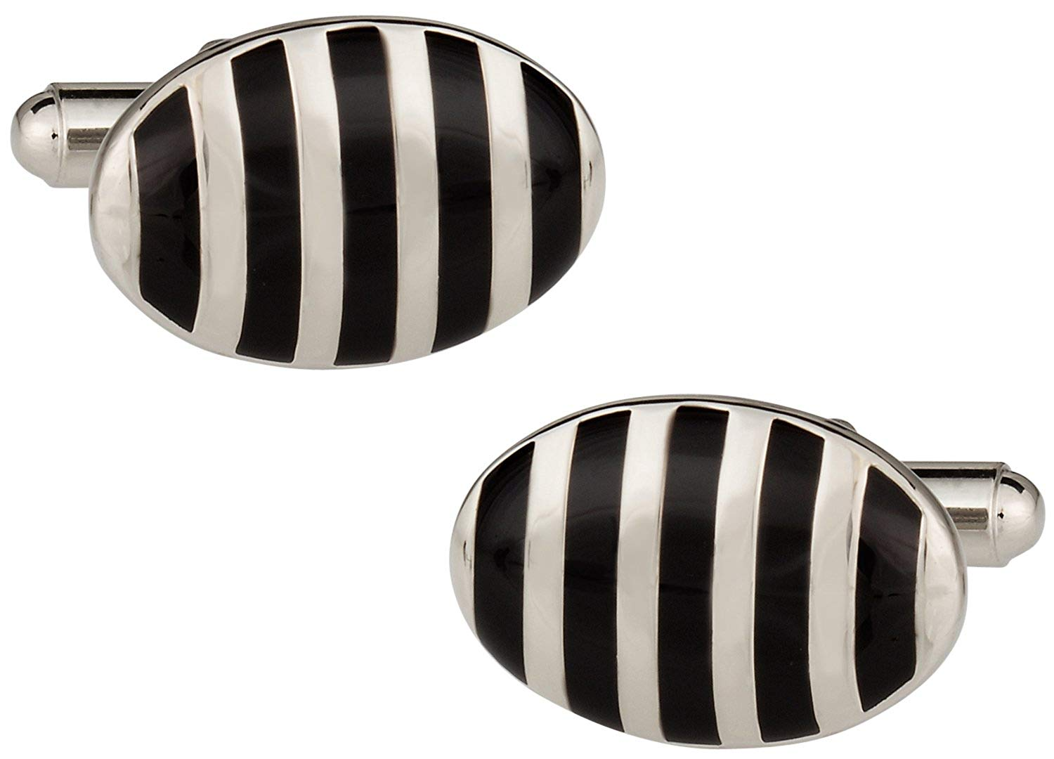Cuff-Daddy Black & White Silver Oval Cufflinks with Presentation Box