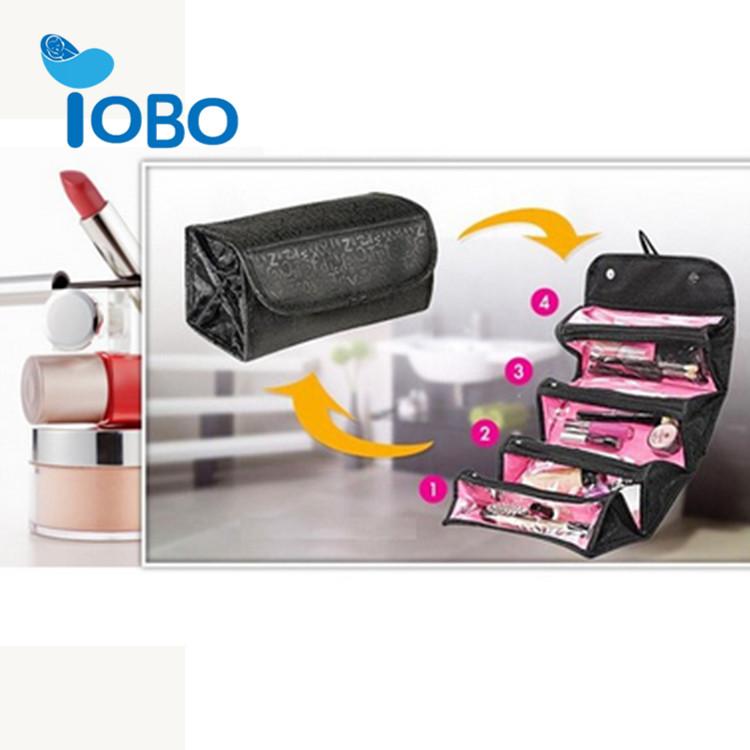 काले रोल-सक्षम मेकअप रोल पैकेजिंग बैग के लिए ठंडा यात्रा छोटे महिलाओं कॉस्मेटिक बैग यात्रा और घर