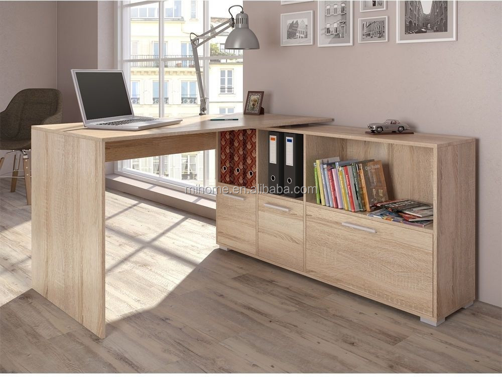 Wit houten computer bureau hoekbureau wrap rond bureau kast buy