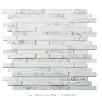 Kitchen Backsplash Random Strip Gl Mixed Stone Mosaic Tile