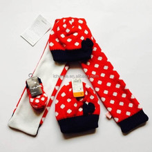 fashion winter warm acrylic kids knitted hat scarf glove sets factory