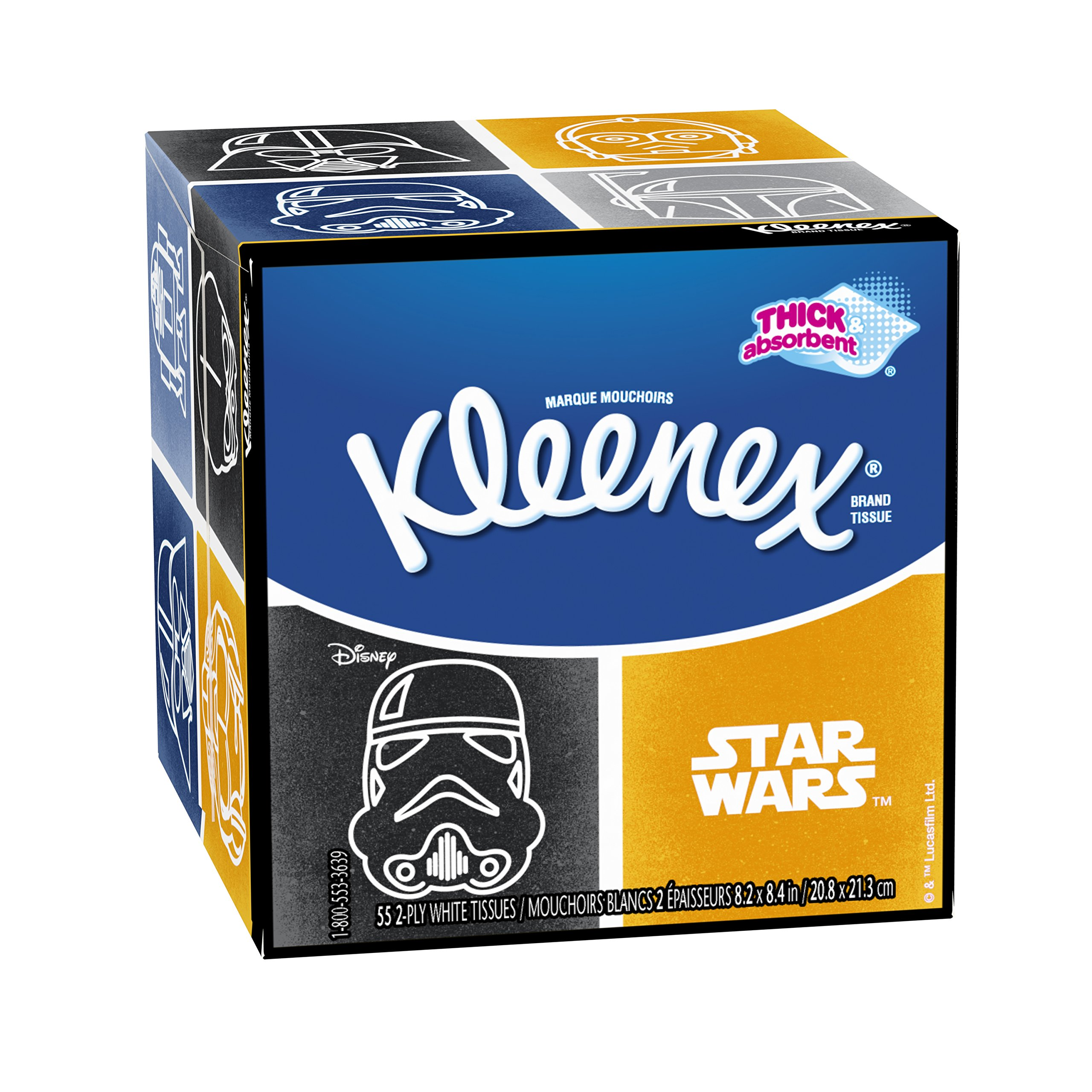 Kleenex Trusted Care  Facial Tissues, Star Wars Designs, 55 2-ply tissues per box(Pack of 27)