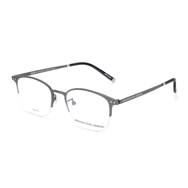 cd0efac91ea Get Quotations · Eileen Elisa Oval Half Frame Glasses for Reading Titanium  Optical Eyeglasses