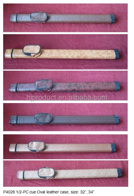 "32"",34"" pool cue case/bag,1/2-PC cue Oval leather case,many different styles and colors on hot sale"