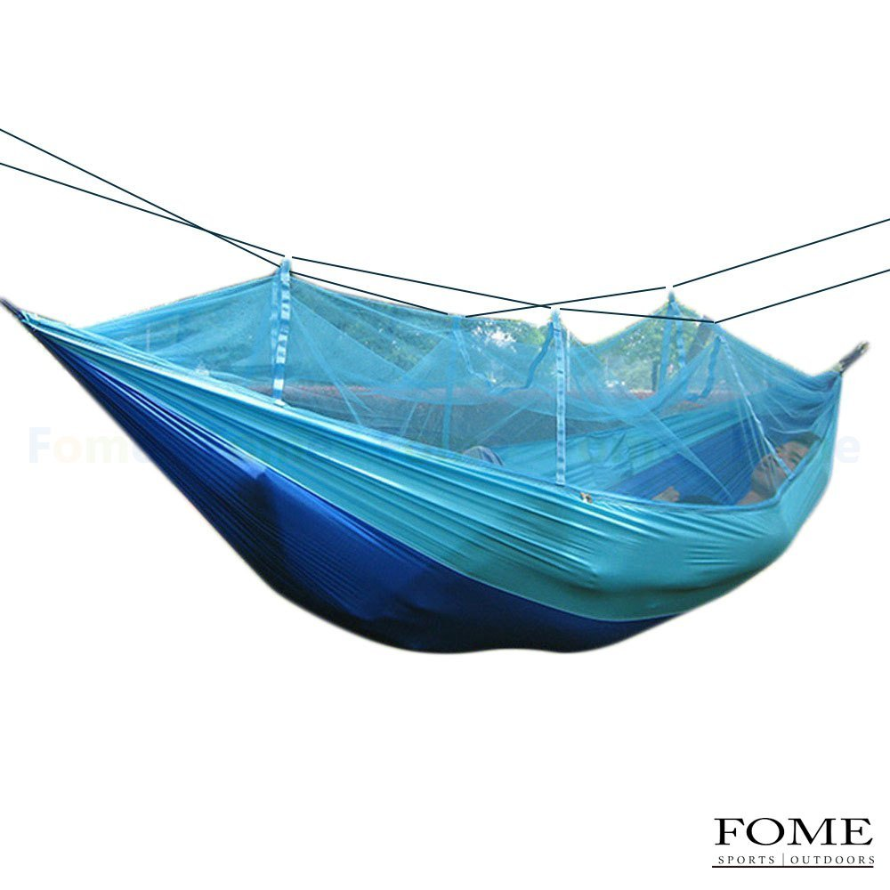 Mosquito Net Hammock, FOME SPORTS|OUTDOORS Portable Fabric Hammocks Ultralight Camping Hammock Hanging Bed With Unremovable Mosquito Net 103 x 51 inch 440lbs Capacity One Year Warranty