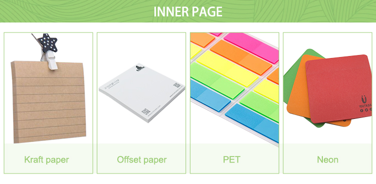 Wholesale custom office hardcover offset printing die cut sticky note memo pads with matt lamination