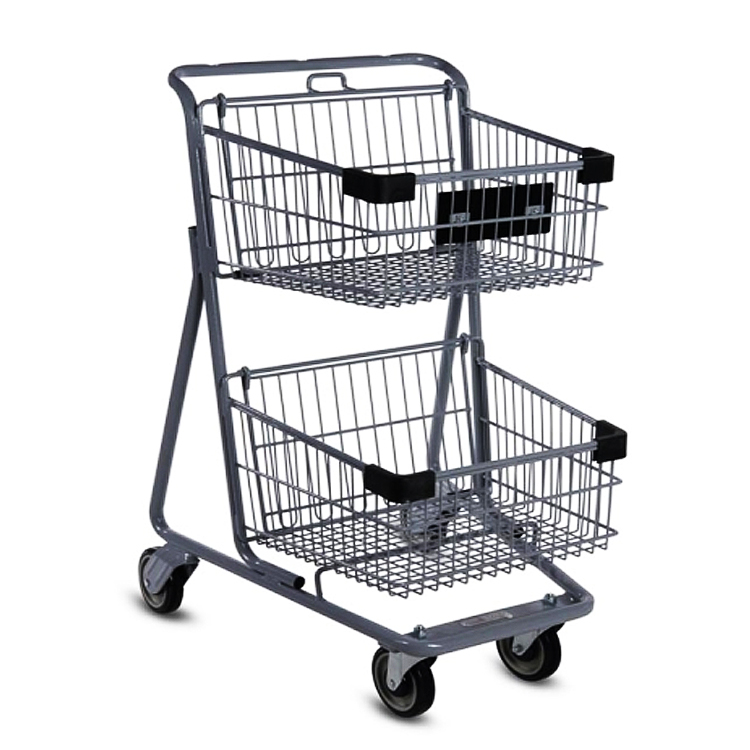 Trade assurance Double-deck supermarket shopping goods carrying trolley cart,handing basket shopping trolley