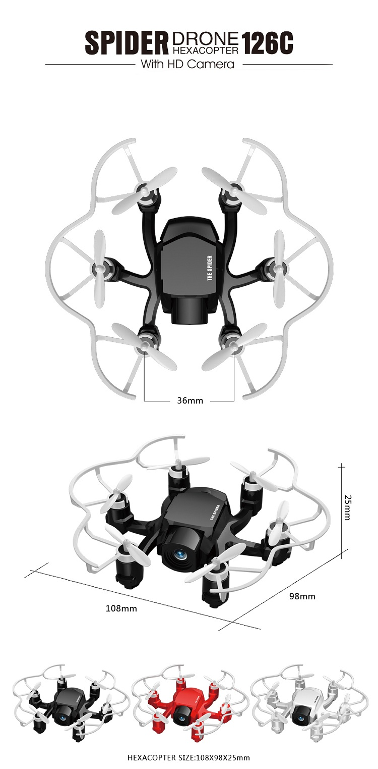 126C 4CH 2.4G Micro Drone with Headless Mode HD Camera