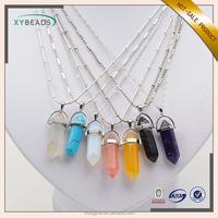 2017 New Fashion Gemstone Pendant Jewelry Silver Chain Natural Stone Pendant Necklace