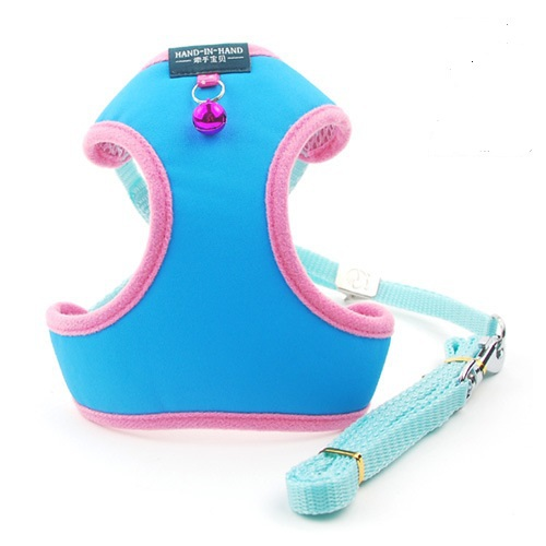 Free shipping New 2015 hot small dog harness for pet dogs with bells mesh breathable pink blue yellow red gold purple 6 colors