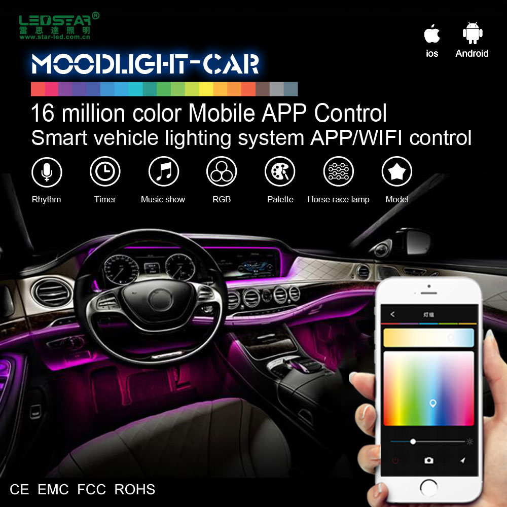 Moonlight Car Interior Led Light Car 12v Smart Mobile App Control