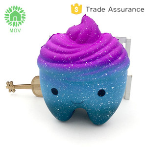 jumbo tooth squishy cute galaxy rainbow tooth super slow rising scented toy