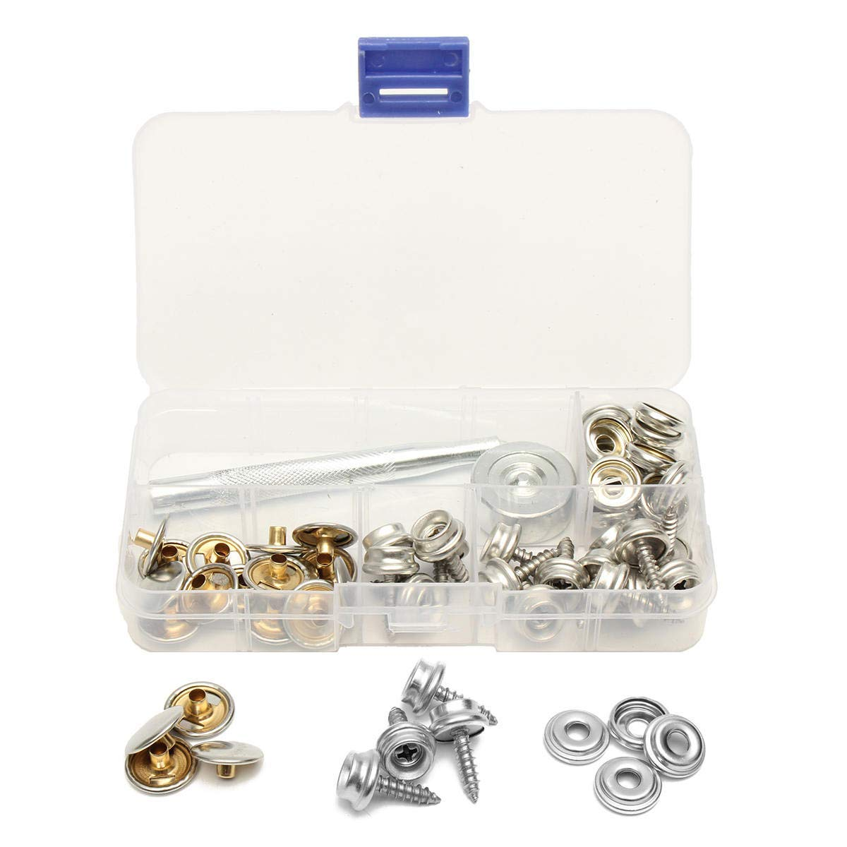 62Pcs Stainless Steel Press Studs Screw Bases Snap Fasteners Kit for Leather - Fasteners Threaded Rods & Studs - 20 x Snap Fastener Self-tapping Screw Stud, 20 x Snap Fastener Sockets