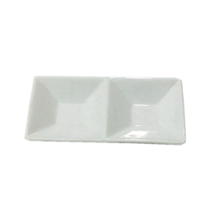 divided plate,factory small porcelain two divided dishes white for restaurant,2 Section Serving Dish