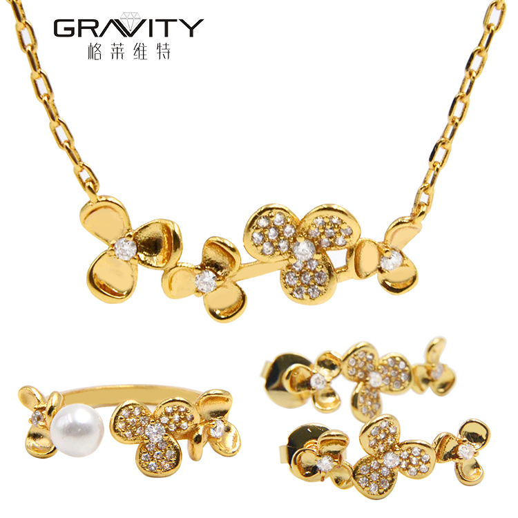 2017 fashion 18k italian fake custom high quality flower shape luxury gold jewelry with imitational pearl Christmas gifts