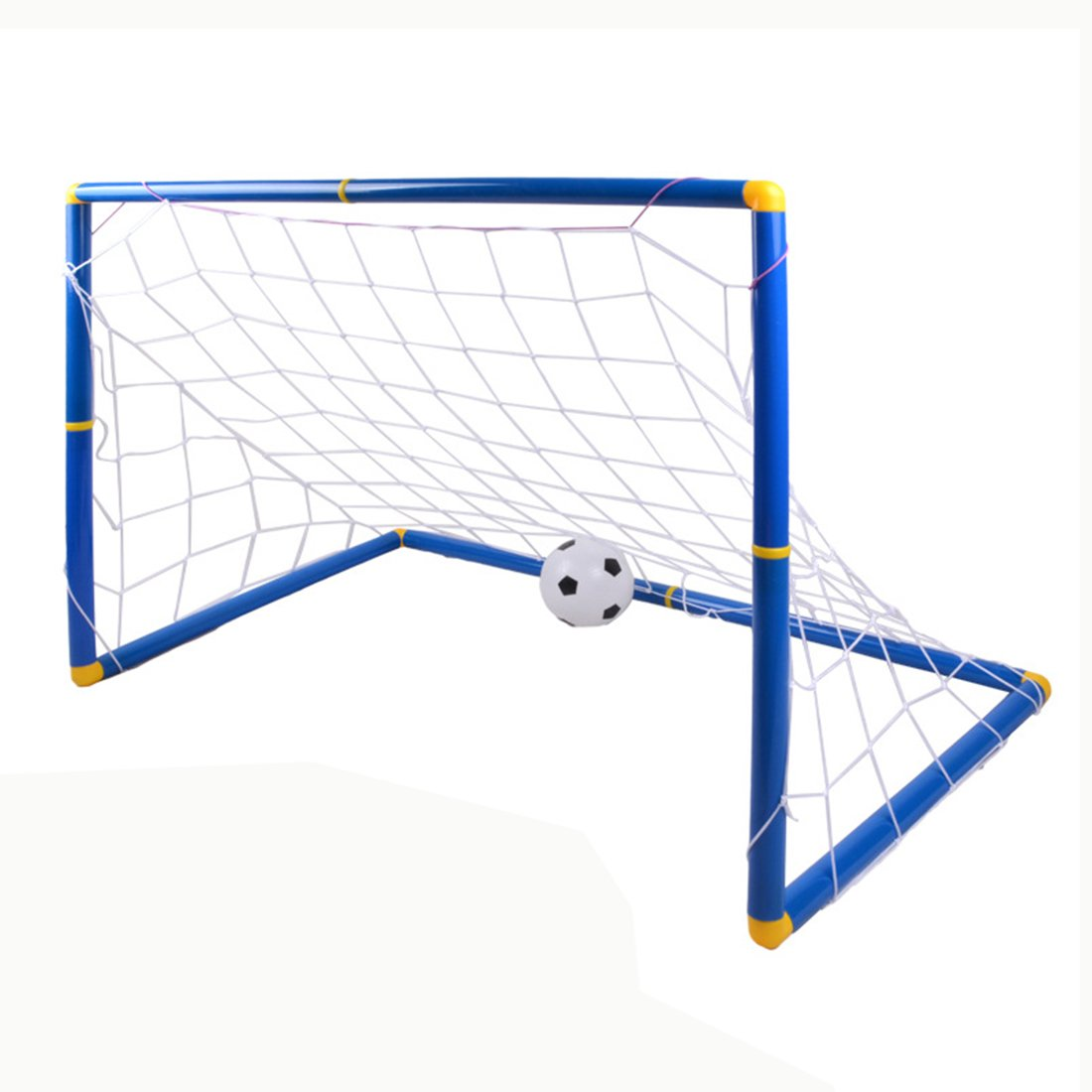 Soccer Goals, FINER Large Size Kids Children Sports Soccer Goals with Soccer Ball and Pump Practice Scrimmage Game - Blue + White