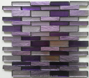 Purple slate mix crystal glass random brick mosaic kitchen backsplash bathroom wall tile