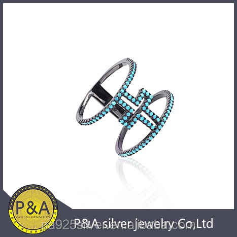 cross turquoise black plating prong set nice desgin 2 line ring