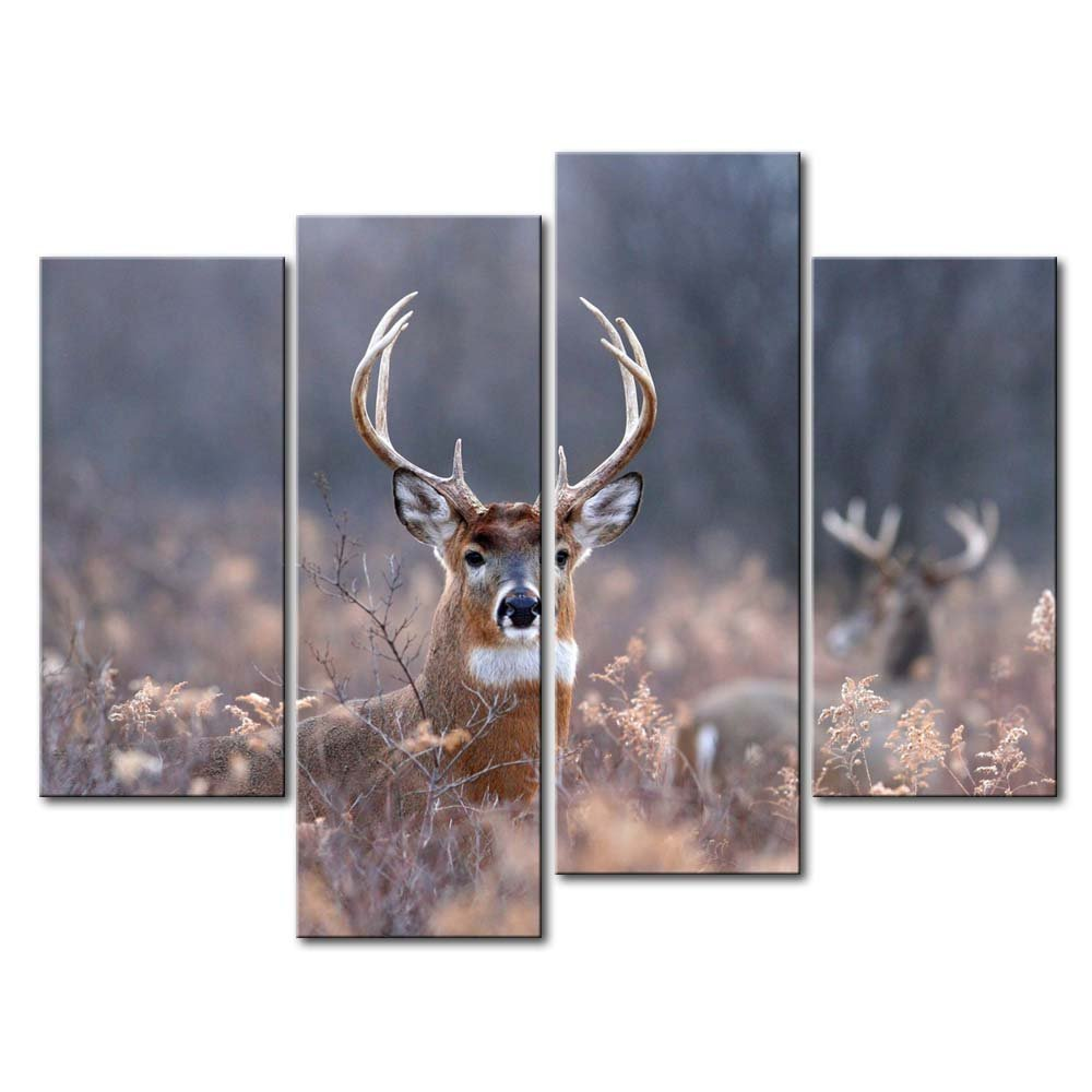 4 Panel Wall Art Painting Deer In The Bushes Pictures Prints On Canvas Animal The Picture Decor Oil For Home Modern Decoration Print For Decor Gifts
