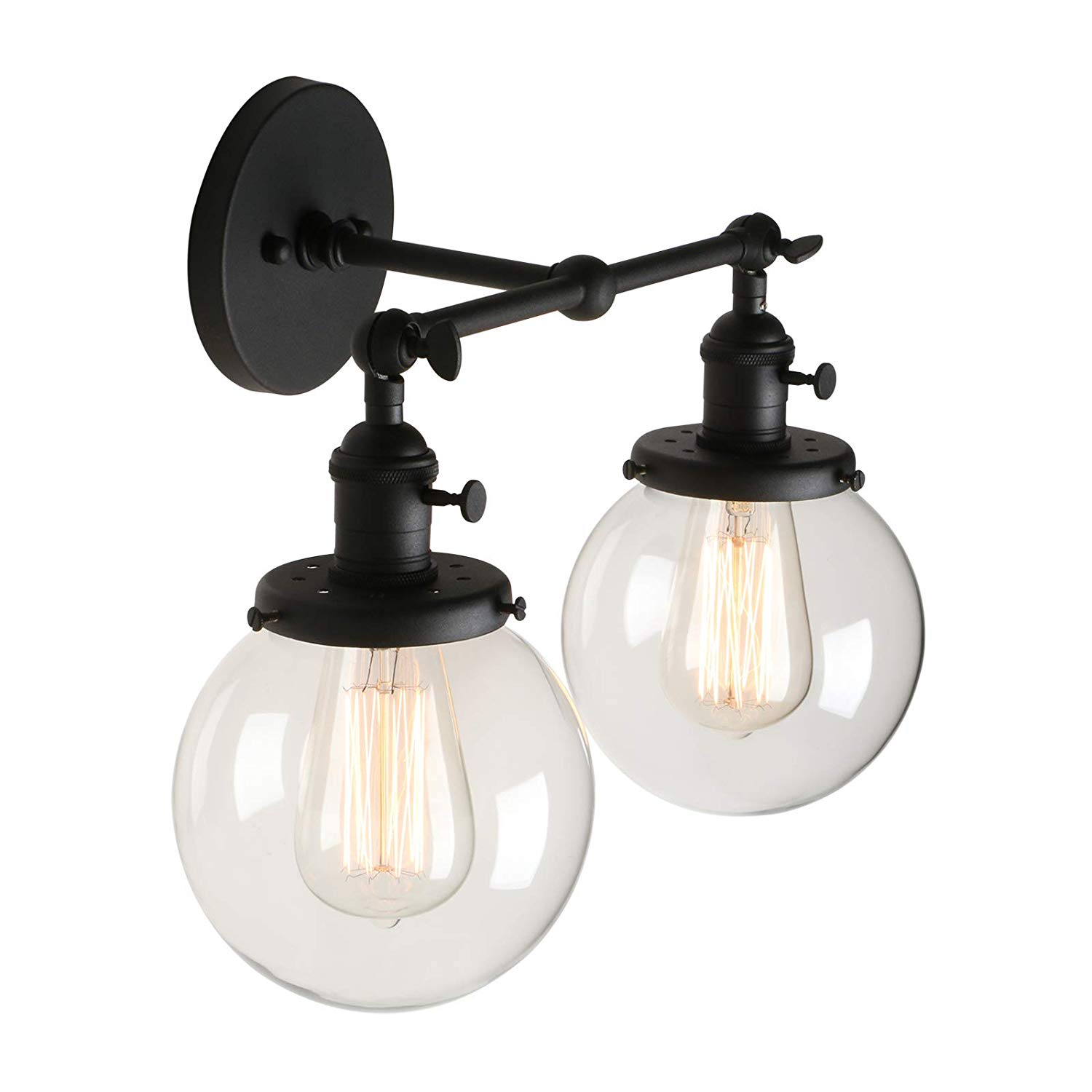 Get Quotations · Pathson Vintage 2 Light Wall Sconce With Globe Clear Glass  Shade, Black Industrial Vanity Light