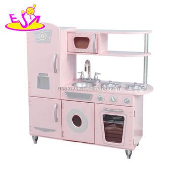 Wooden Toy Kitchen In Pink W10c354