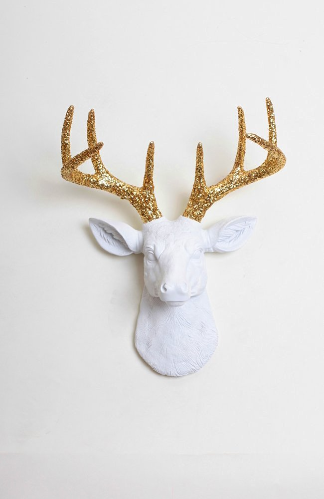 Glitter Deer Head Wall Mount - The Mini Winston | Mini White Resin Deer Head with Gold Glitter Antlers Wall Decor | Animal Head Wall Hanging Sculpture | Fake Stag Animal Mounts By White Faux Taxidermy