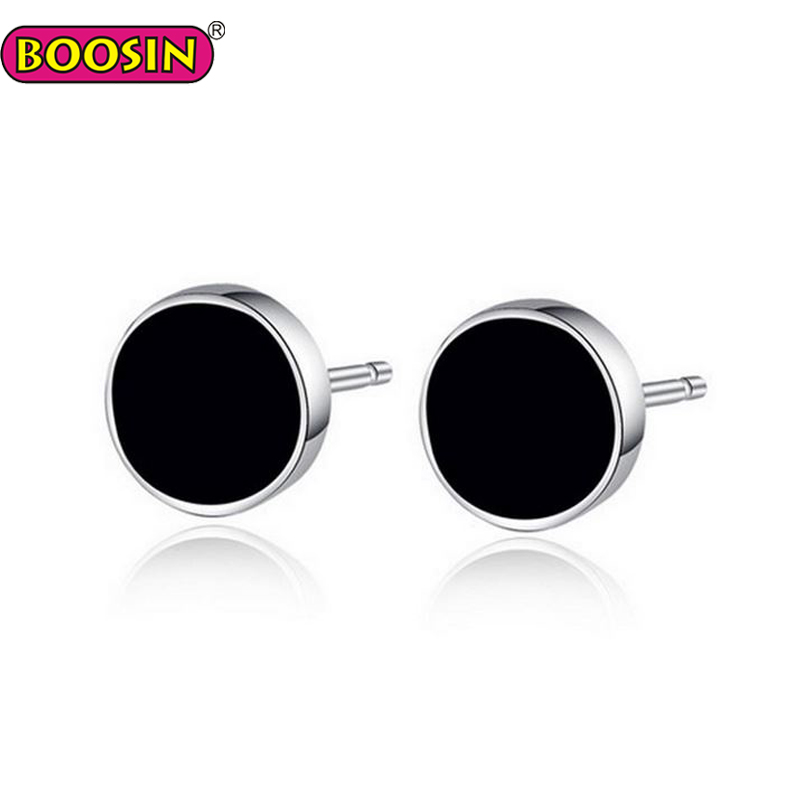 Cool Black Disc Round Men Stud Earrings, Custom Welcomed Jewelry For Men