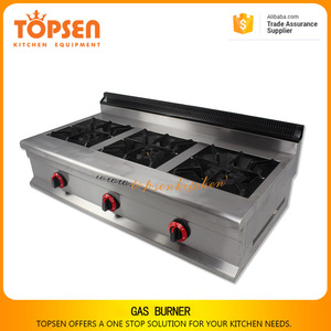 Restaurant equipment commercial gas stove, gas burner for cooking, 3 burner gas cooktop