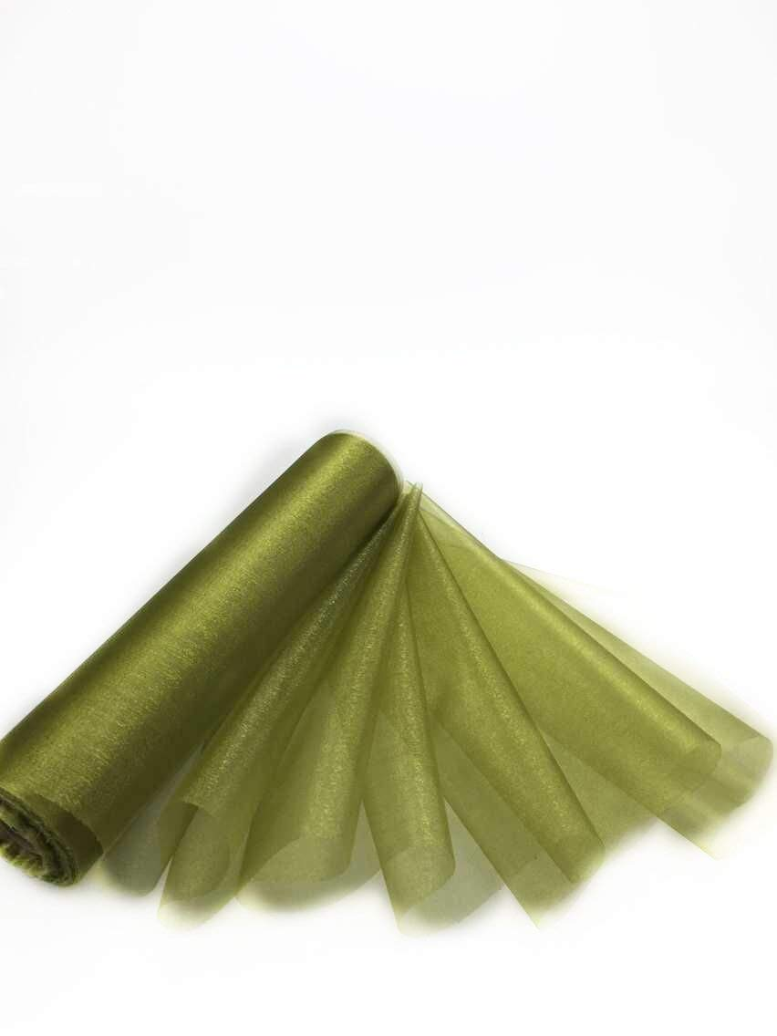 Trimming Shop 29cm X 25m Roll Of Organza Sheer Fabric Elegant Decorative Cloth For Wedding Chair Bows Table Runners Party Favours Olive Green