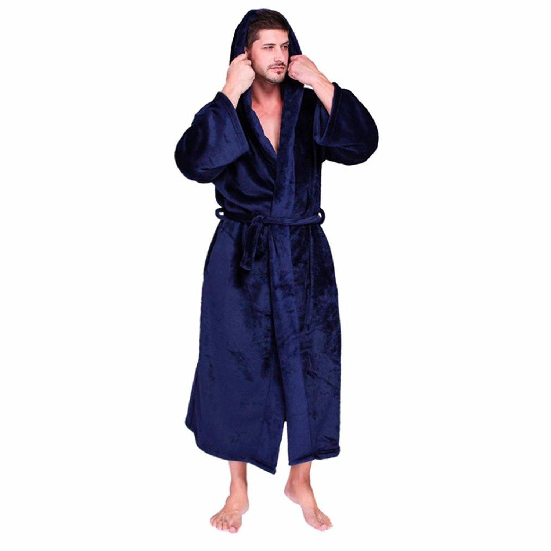 Get Quotations · Binmer(TM) Bathrobe Warm Mens Womens Hooded Robe Flannel  Plush Shawl Kimono Bathrobe Coat 0b7bd17f9