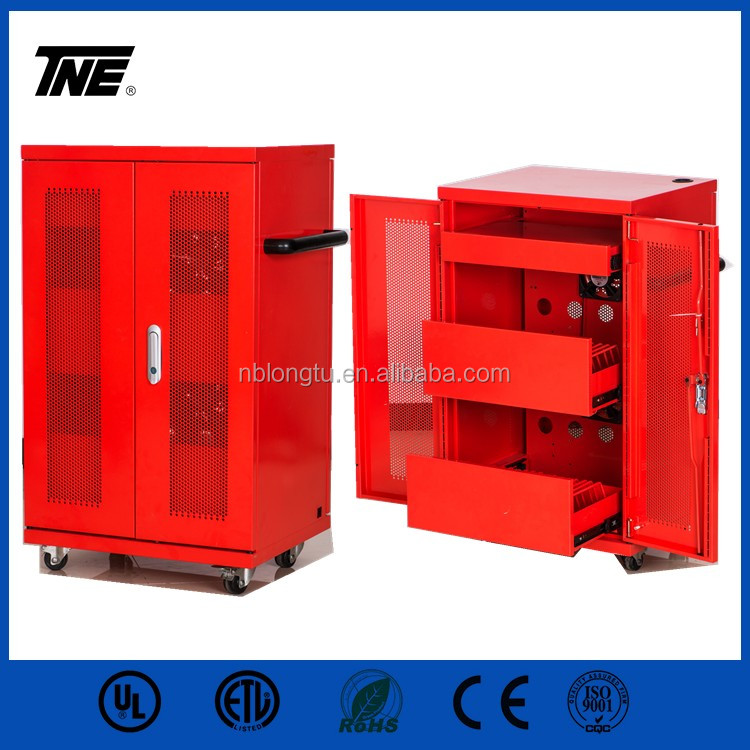 SPCC Tablet Mobile IPad 40 Port Electric Safe Learning tablet Charging box Ipad charging cart red charging Trolley