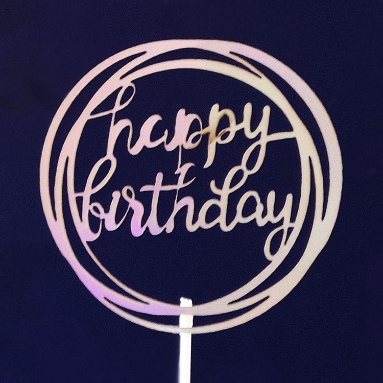2019 Hot sale laser paper Happy birthday decoration <strong>cake</strong> topper