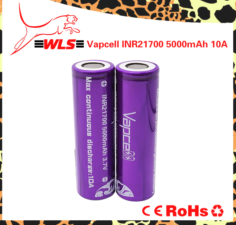 Vapcell 21700 5000mAh rechargeable battery high capacity vapcell 18650 20700 20650 21700