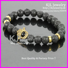 KJL-A0347 black lava 6mm stone beaded bracelet ,evil eye with hamsa palm fashion bracelet