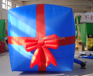 Blue color inflatable gift box with red bowknot/christmas/giant inflatable gift box