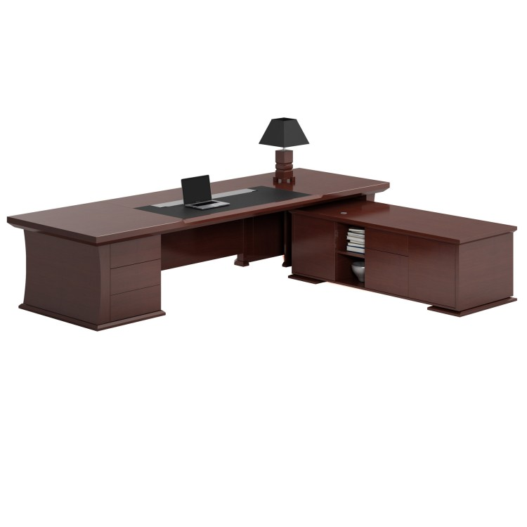 Commercial furniture project office real veneer teak wood boss executive desk