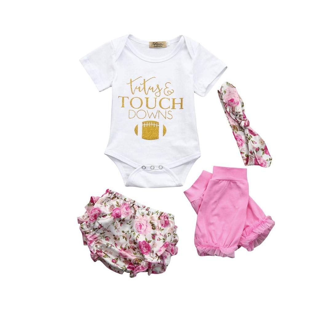 f309c6d8b5f1 Get Quotations · Hunputa 4pcs Toddler Baby Girls Clothes Tops+Shorts+Headband+Leg  Warmers Set Outfits