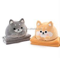 Cute Dog plush Toy Shiba Inu Shape Stuffed Pillow Animal 2 In 1 Cushion With Blanket Birthday Gift Baby Kids Toy D5Z
