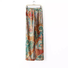 Women Floral Printed Wide leg Pants 2017 Summer Casual High Waist Pants Fashion Trousers Loose outdoor pants